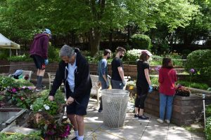 workers attending plant garden