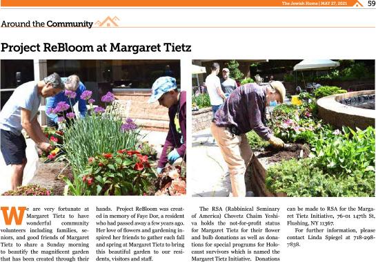 news clipping of Margaret Tietz Project ReBloom